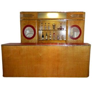 Art Deco Custom Bar Original With Backbar For Sale