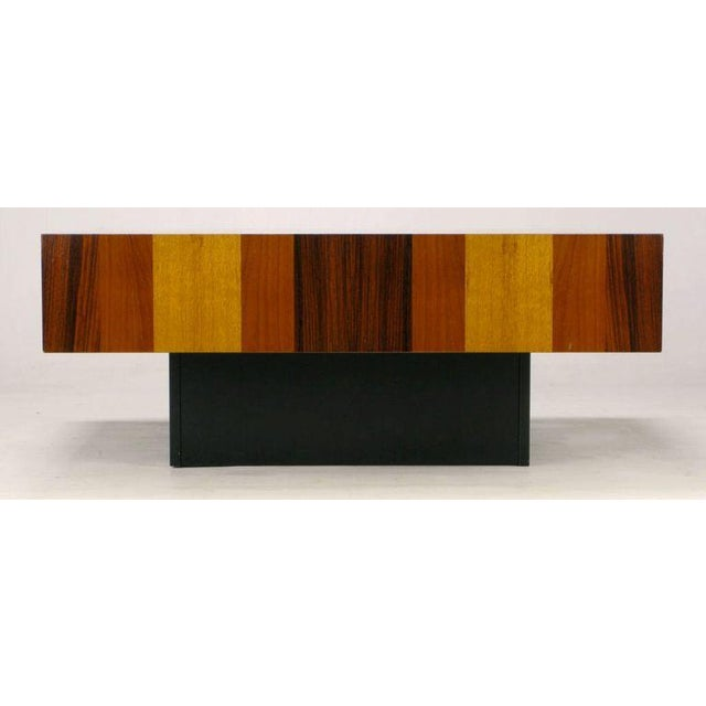 1970s Danish Exotic Wood Parquetry Top Square Coffee Table For Sale - Image 5 of 6