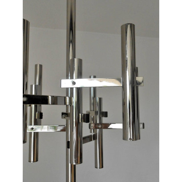 Gaetano Sciolari Geometric Nine Chrome Tubes Pendant For Sale - Image 4 of 5