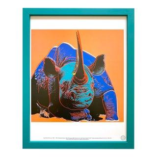 """Andy Warhol Estate Vintage 1989 Endangered Species Framed Lithograph Print """" Black Rhinoceros """" 1983 For Sale"""