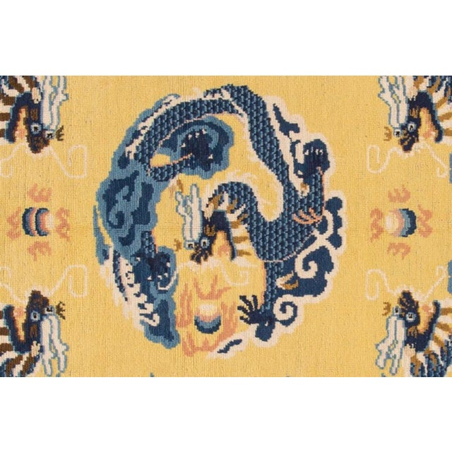 Chinese Vintage Yellow Dragon Peking Chinese Wool Rug 5 Ft 2 in X 6 Ft 7 In. For Sale - Image 3 of 6