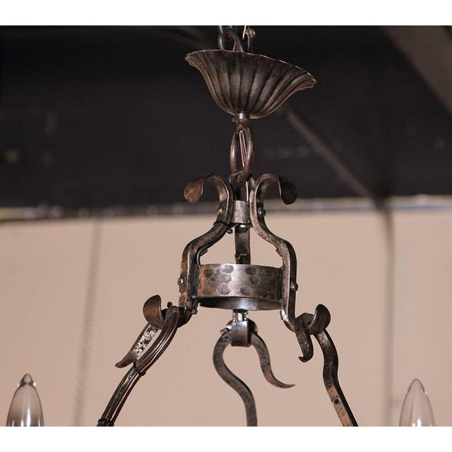Early 20th Century French Wrought Iron Six-Light Chandelier With Fleur-De-Lys For Sale - Image 4 of 10