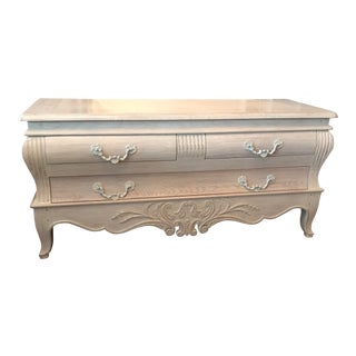 French Interior Crafts Antique-White Bombe Dresser For Sale