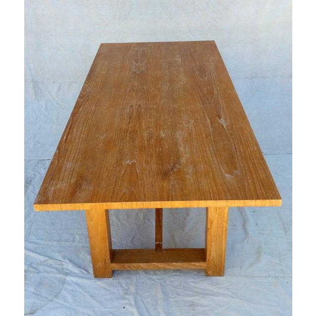 Vintage Pickled Teak Trestle Table For Sale - Image 5 of 11