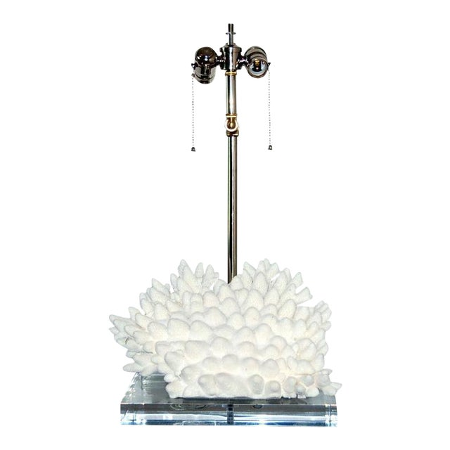 Coral Finger Table Lamp White For Sale - Image 9 of 9