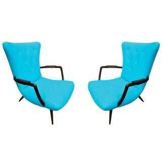 Turquoise Twill Upholstered Brazilian Paulistana Armchairs - a Pair For Sale