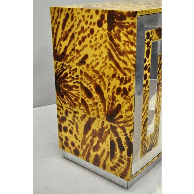 Mid Century Milo Baughman Chrome Greek Key Oil Drop Lacquer Credenza For Sale - Image 10 of 12