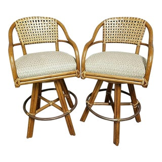 Vintage Mcguire Mid Century Modern Bamboo + Leather Swivel Counter Bar Stools - A Pair For Sale