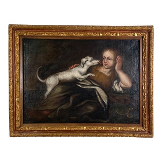A Girl and Her Dog, Spain 18th Century For Sale