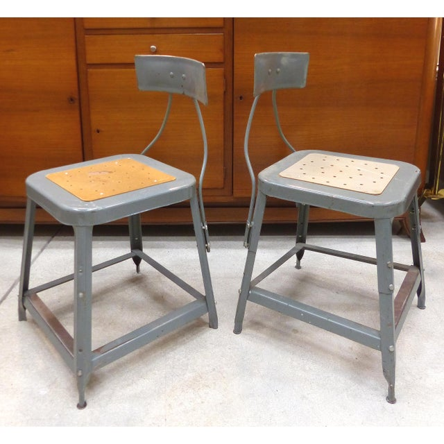 Offered for sale is your choice of Industrial metal office or workshop chairs sold individually. Each chair has vintage...