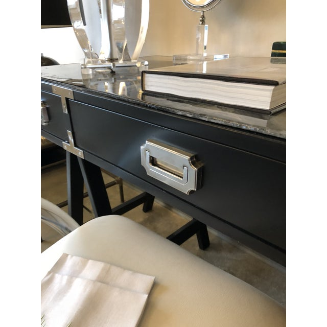 Mid Century Modern Lacquered Black Campaign Desk with Chrome and Brass Hardware - Image 10 of 10