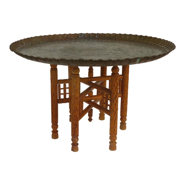 20th Century Moroccan Brass Table Tray on Stand For Sale