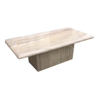 1980's Postmodern Travertine Coffee Table For Sale