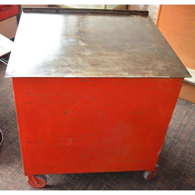 Storage Cabinet on Wheels With Steel Top as Kitchen Isle, Wait Stand, Home Bar For Sale - Image 12 of 13