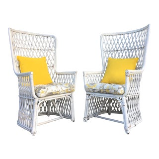 Vintage Wicker High Back Throne Chairs - A Pair