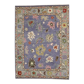 Contemporary Lavender-Purple Rug with Oushak Design and Modern Style