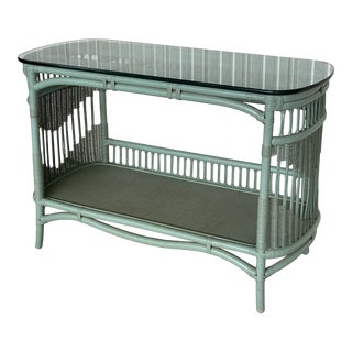 Vintage Coastal Ficks Reed Turquoise Rattan Console For Sale