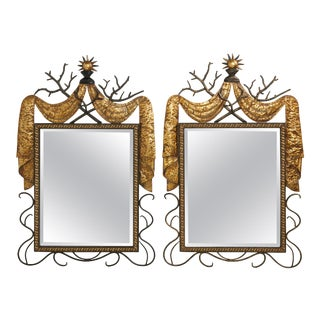 Pair of Gilbert Poillerat Style Parcel-Gilt and Black Iron Wall Mirrors For Sale