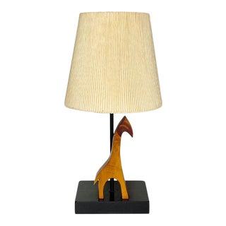 Mid Century Danish Modern Teak Giraffe Child's Lamp With Clip Shade For Sale