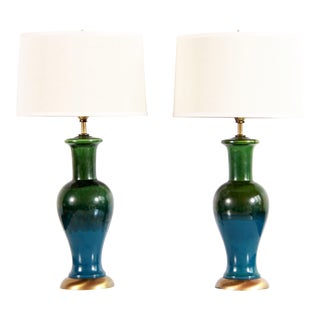 Mid Century Modern Blue & Green Art Pottery Lamps - a Pair For Sale