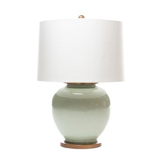 Lawrence & Scott Luca Table Lamp in Celadon Crackle For Sale