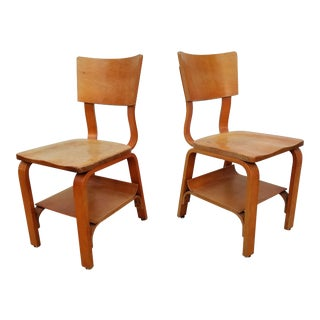 Vintage Original Signed Thonet Bentwood Chairs - a Pair