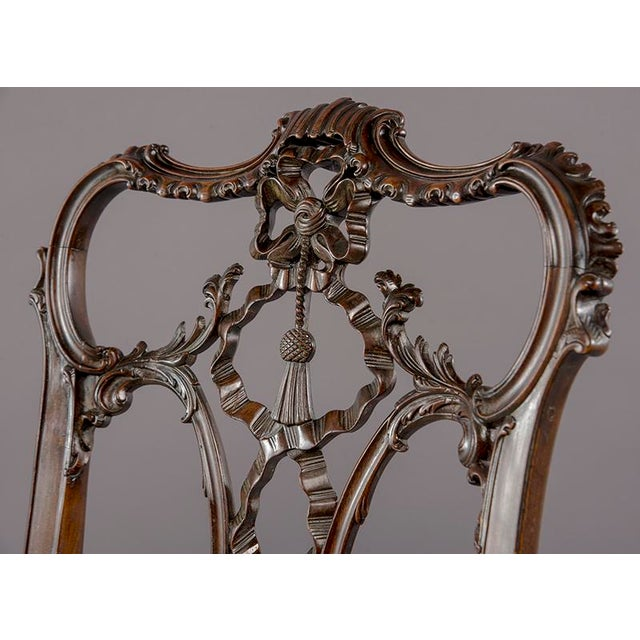 Mahogany Set 8 19th C Hand Carved Chippendale Tassel Back Dining Chairs For Sale - Image 7 of 13