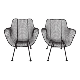 "1950s Russell Woodard ""Sculptura"" Black Iron Mesh ""Linai"" Armchairs - a Pair For Sale"
