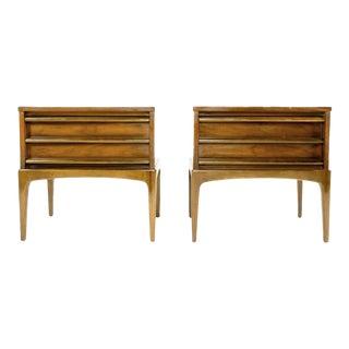 Lane Rhythm Mid-Century Modern Sculpted Walnut Nightstands - a Pair