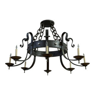 1940's Round Wrought Iron Chandelier With 8 Arms For Sale