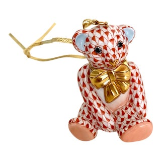 Herend Rust Color Fishnet Teddy Bear Ornament - Rare 1st Edition Stamp! For Sale