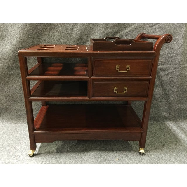Vintage Rosewood Asian Tea Drink Cart - Image 2 of 7