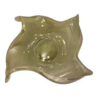 Vintage Lavorazione Yellow Art Glass Decorative Center Bowl For Sale