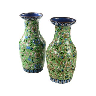 Antique Chinese Green Cloisonné Vases - A Pair For Sale