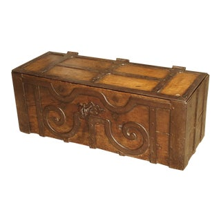 17th Century Oak and Iron Bound Money Trunk from Haut Jura, France For Sale
