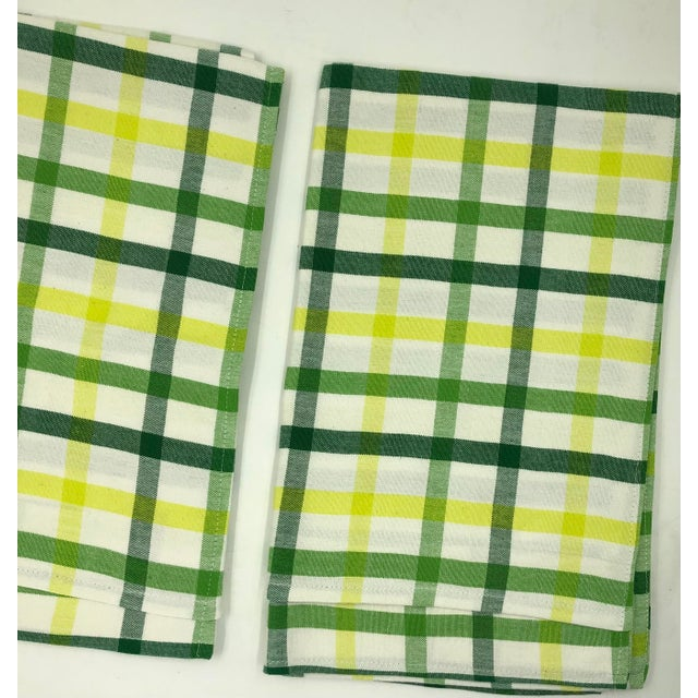 """2020s Top Sheet Flat 100% Cotton Handloom Hand Woven White Green Yellow Citrus Madras Checks 80 X 60"""" Inch Pillow Covers New For Sale - Image 5 of 8"""