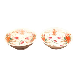 Chinese Export Porcelain Famille Rose Tea Plates - a Pair For Sale