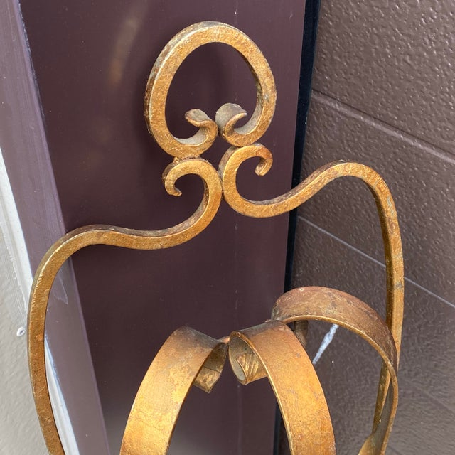 Mid Century Gilt Wrought Iron Three Arm Candle Sconce For Sale - Image 4 of 11