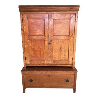 Primitive 2 Piece Step Back Pine Jelly Cupboard For Sale