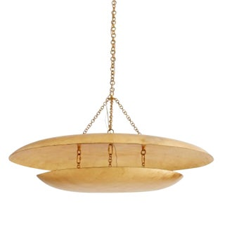 Arteriors Modern Gold Leaf Finished Large Florko Chandelier For Sale