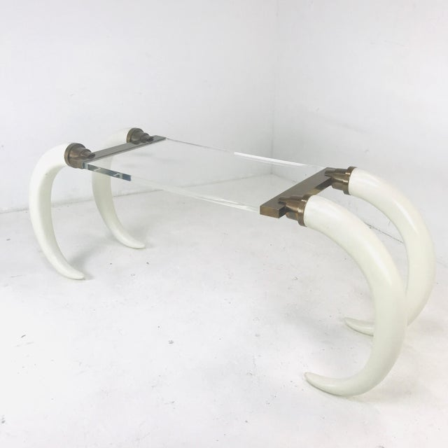 1970s Faux Elephant Tusk Table For Sale - Image 5 of 8
