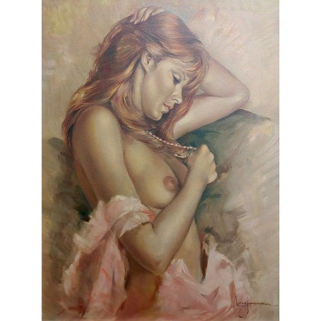 Art Nouveau Leo Jansen Portrait of Beautiful Nude Red Head Oil Painting For Sale - Image 3 of 10