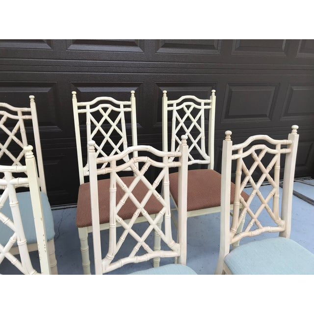 1960s Vintage Chinoiserie Faux Bamboo Dining Chairs- Set of 8 For Sale - Image 4 of 10