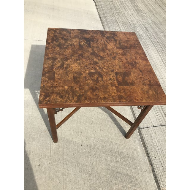 Modern 1960s Chippendale Patchwork Burl Wood Flip Top Game/Dining Table For Sale - Image 3 of 12