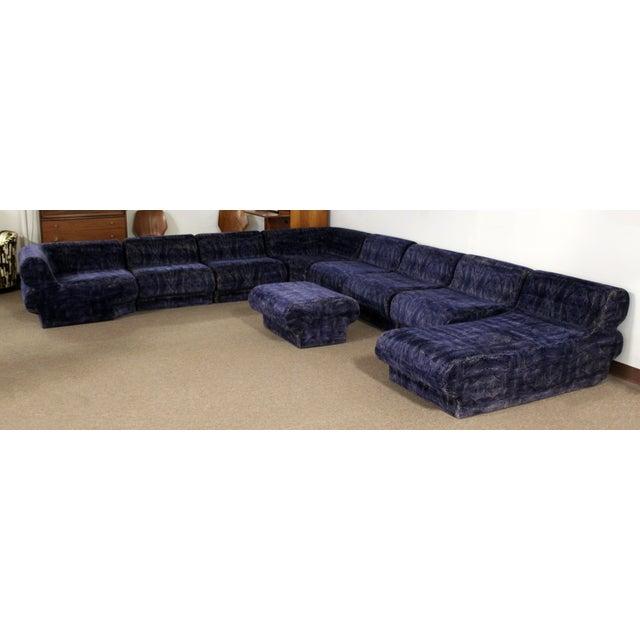 Mid Century Modern 9 Piece Modular Serpentine Blue Velvet Sectional Sofa By Kagan