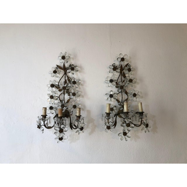 Huge Clear Flower Maison Bagues Style Three-Light Sconces For Sale - Image 10 of 10