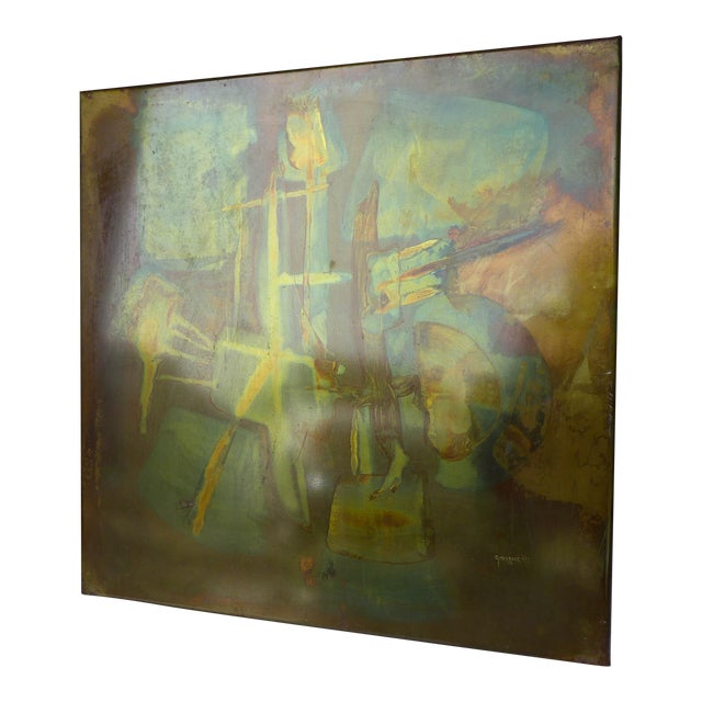 """1973 Metallic Abstract Art, Signed """"Giovenetti"""" For Sale"""