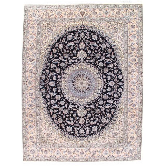 Pasargad NY Persian Nain Hand-Knotted Lamb's Wool & Silk Rug - 8′10″ × 11′10″ For Sale - Image 5 of 5