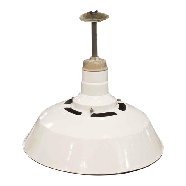 A Pair of Enameled White Metal Industrial Lights - Image 1 of 2