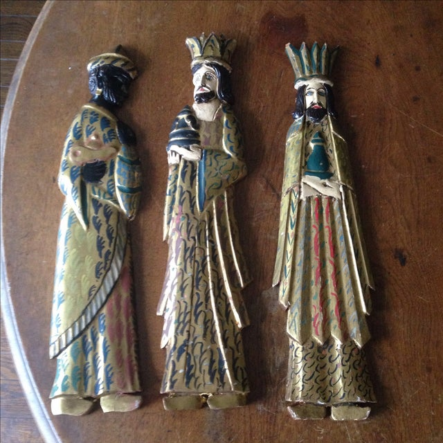 Folk Art Wooden Three Kings Wall Hangings - Set of 3 - Image 2 of 11